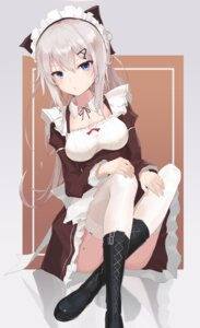 Rating: Questionable Score: 70 Tags: 9a-91_(girls_frontline) cleavage girls_frontline heels maid serika_(artist) skirt_lift stockings thighhighs User: sym455