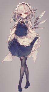 Rating: Safe Score: 33 Tags: heels hito_komoru izayoi_sakuya maid pantyhose skirt_lift touhou weapon User: Dreista