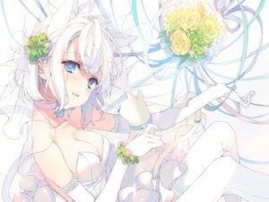 Rating: Safe Score: 87 Tags: animal_ears cleavage dress reia wedding_dress User: hiroimo2