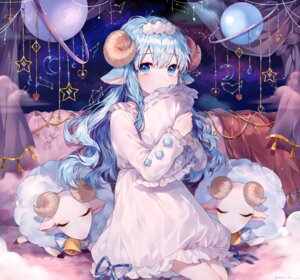 Rating: Safe Score: 57 Tags: animal_ears breast_hold dress ha_youn horns User: sym455