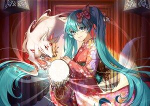 Rating: Safe Score: 7 Tags: animal_ears hatsune_miku kimono kitsune lem_tea tail vocaloid User: Mr_GT