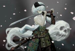 Rating: Questionable Score: 14 Tags: armor googerm japanese_clothes konpaku_youmu no_bra sword touhou User: Mr_GT