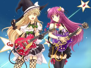Rating: Safe Score: 23 Tags: cleavage fishnets guitar kirisame_marisa mickey_dunn patchouli_knowledge stockings thighhighs touhou witch User: Mr_GT