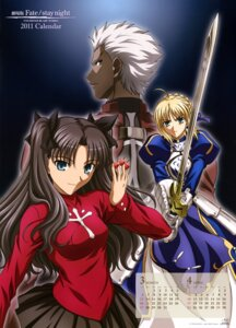 Rating: Safe Score: 22 Tags: archer armor calendar dress fate/stay_night ishihara_megumi saber sword toosaka_rin User: drop