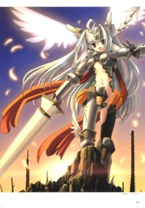 Rating: Questionable Score: 39 Tags: armor bodysuit maebari shirogane_no_soleil skyfish sol_valkyrie sword tsurugi_hagane wings User: fireattack