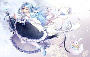 Rating: Safe Score: 26 Tags: hatsune_miku heels kuri_(animejpholic) skirt_lift vocaloid yuki_miku User: BattlequeenYume