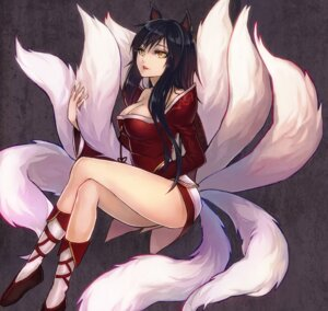 Rating: Safe Score: 84 Tags: ahri animal_ears cleavage kitsune league_of_legends omone_tamashii tail User: fairyren