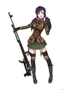 Rating: Safe Score: 30 Tags: gun heli-kotohime love_live! thighhighs toujou_nozomi uniform User: Ulquiorra93