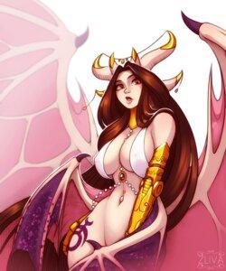 Rating: Questionable Score: 7 Tags: bottomless devil erect_nipples horns miranda_(zliva) no_bra wings zliva User: dick_dickinson