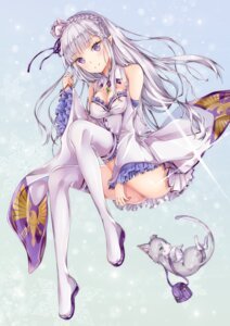 Rating: Safe Score: 85 Tags: cleavage emilia_(re_zero) neko pack_(re_zero) pointy_ears re_zero_kara_hajimeru_isekai_seikatsu thighhighs yoshida_iyo User: Mr_GT