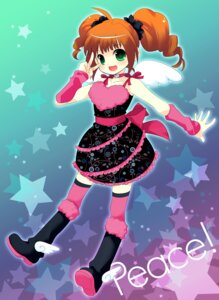 Rating: Safe Score: 9 Tags: dress ech takatsuki_yayoi the_idolm@ster thighhighs wings User: Nekotsúh
