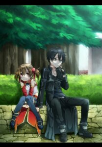 Rating: Safe Score: 7 Tags: kirinin kirito silica sword_art_online thighhighs User: charunetra