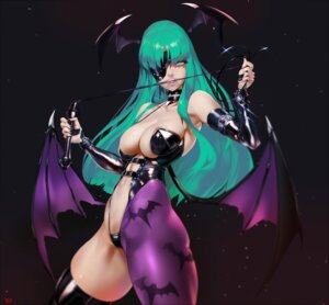 Rating: Questionable Score: 51 Tags: dark_stalkers eyepatch morrigan_aensland no_bra thighhighs thong weapon wings yang-do User: sylver650