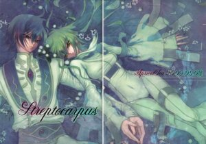 Rating: Safe Score: 9 Tags: c.c. code_geass gap lelouch_lamperouge minami_(apricot_tea) paper_texture User: Radioactive