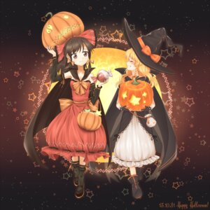 Rating: Safe Score: 25 Tags: dress hakurei_reimu halloween kirisame_marisa minust touhou witch User: Mr_GT