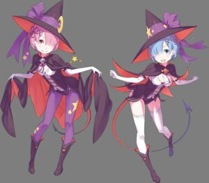 Rating: Safe Score: 6 Tags: cleavage halloween heels pantyhose ram_(re_zero) re_zero_kara_hajimeru_isekai_seikatsu rem_(re_zero) tail thighhighs witch User: tara