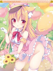 Rating: Questionable Score: 57 Tags: animal_ears izumi_nanase nopan skirt_lift tail thighhighs User: Twinsenzw