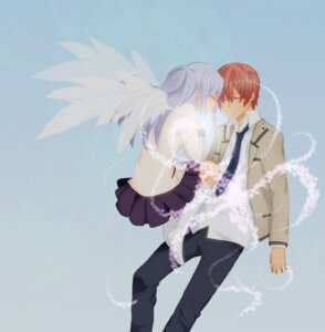 Rating: Safe Score: 10 Tags: angel_beats! hiyori_(worldpeace) otonashi seifuku tenshi wings User: Radioactive