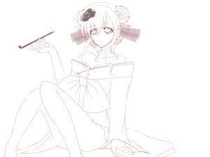 Rating: Safe Score: 5 Tags: cleavage kasane_teto line_art monochrome ototsuki_akane yoshiwara_lament_(vocaloid) User: リナ