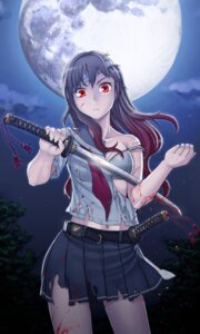 Rating: Questionable Score: 35 Tags: bandages blood bra itou_(onnsokutassha) seifuku sword torn_clothes User: Mr_GT