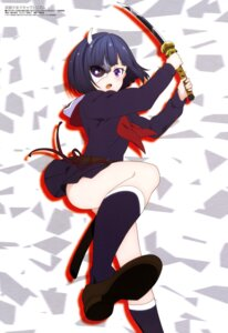 Rating: Safe Score: 38 Tags: busou_shoujo_machiavellism hashimoto_maki horns onigawara_rin seifuku sword User: drop