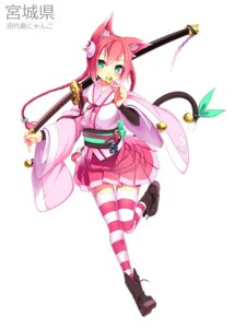 Rating: Safe Score: 77 Tags: animal_ears aoi_tsunami japanese_clothes nekomimi sword tail thighhighs weapon User: Zenex