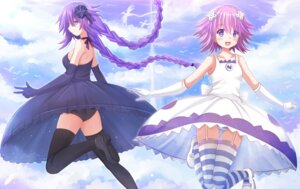 Rating: Questionable Score: 40 Tags: choujigen_game_neptune dress kazenokaze neptune pantsu purple_heart shimapan stockings thighhighs User: cosmic+T5