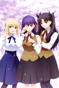 Rating: Safe Score: 55 Tags: fate/stay_night fate/stay_night_heaven's_feel hama_sakiyo matou_sakura saber seifuku toosaka_rin type-moon User: drop
