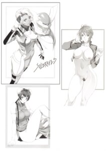 Rating: Questionable Score: 15 Tags: bodysuit bottomless brave_(gundam) breasts chinadress feldt_grace fool's_art_gallery gundam gundam_00 gundam_00:_a_wakening_of_the_trailblazer homare mecha monochrome neferu_naguib nipples no_bra nopan open_shirt pubic_hair thighhighs uniform wang_liu_mei User: Radioactive