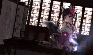 Rating: Safe Score: 67 Tags: animal_ears futoshi_ame japanese_clothes kitsune signed tail thighhighs User: RyuZU