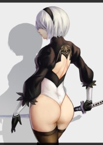 Rating: Safe Score: 42 Tags: ass leotard mato_(artist) nier_automata sword thighhighs yorha_no.2_type_b User: mash