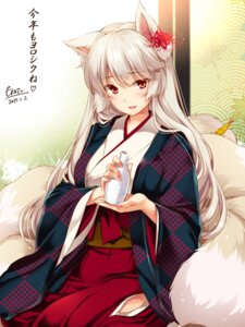 Rating: Safe Score: 67 Tags: animal_ears flower_knight_girl japanese_clothes kitsune monety sake tail User: fairyren