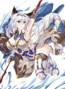 Rating: Questionable Score: 48 Tags: animal_ears armor cleavage granblue_fantasy heels heles kotohane no_bra thighhighs weapon User: mash