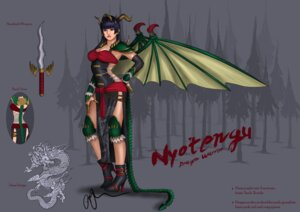Rating: Questionable Score: 6 Tags: armor character_design cleavage dead_or_alive heels horns nyotengu tail weapon wings User: Yokaiou