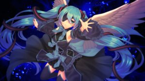 Rating: Safe Score: 18 Tags: dress eyepatch hatsune_miku matsuda_toki thighhighs vocaloid wallpaper wings User: charunetra