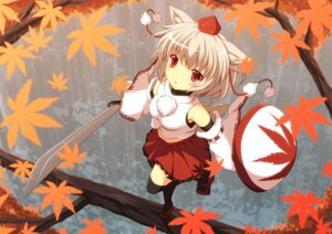 Rating: Safe Score: 24 Tags: animal_ears cross inubashiri_momiji sword tail thighhighs touhou User: Mr_GT