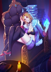 Rating: Safe Score: 18 Tags: bra cleavage heels open_shirt tagme thighhighs User: Radioactive