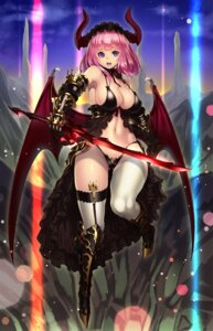 Rating: Questionable Score: 85 Tags: armor bikini_armor cameltoe cleavage horns houtengeki sword thighhighs wings User: Mr_GT
