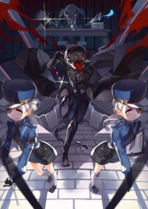 Rating: Safe Score: 19 Tags: business_suit caroline_(persona_5) eyepatch igor justine_(persona_5) kurusu_akira persona_5 police_uniform selenoring weapon User: charunetra
