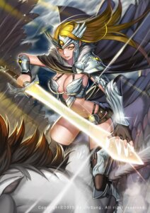 Rating: Questionable Score: 9 Tags: armor bikini_armor cleavage kim_jin_sung sword thighhighs wings User: Mr_GT