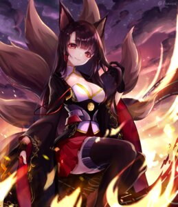 Rating: Safe Score: 32 Tags: akagi_(azur_lane) animal_ears aseris azur_lane cleavage japanese_clothes kitsune tail thighhighs User: Mr_GT