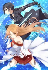 Rating: Safe Score: 20 Tags: asuna_(sword_art_online) kirito kujou_ichiso sword sword_art_online thighhighs User: fairyren