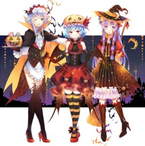 Rating: Safe Score: 51 Tags: dress ekita_gen halloween heels izayoi_sakuya megane patchouli_knowledge remilia_scarlet stockings thighhighs touhou weapon wings witch User: Mr_GT