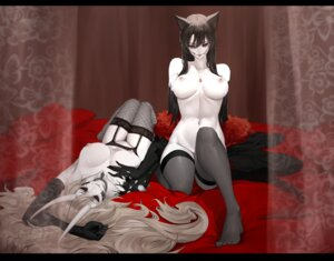 Rating: Questionable Score: 23 Tags: animal_ears blake_belladonna dishwasher1910 fishnets horns naked nipples rwby stockings tail tattoo thighhighs yang_xiao_long User: Mr_GT