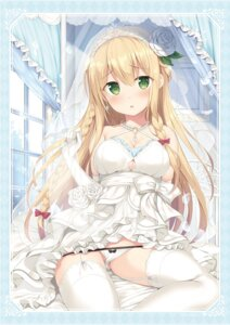 Rating: Questionable Score: 38 Tags: cleavage dress pantsu panty_pull skirt_lift stockings thighhighs tomoo wardrobe_malfunction wedding_dress User: hiroimo2
