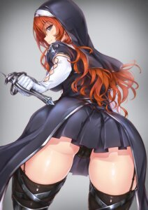 Rating: Questionable Score: 87 Tags: ass cameltoe nun pantsu stockings sword thighhighs tori_(puru0083) User: mash