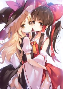 Rating: Questionable Score: 31 Tags: dress hakurei_reimu ke-ta kirisame_marisa miko skirt_lift tagme touhou witch yuri User: kiyoe