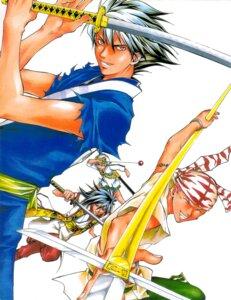 Rating: Safe Score: 1 Tags: benitora japanese_clothes kamijyo_akimine male oni_me_no_kyo samurai_deeper_kyo sanada_yukimura sarutobi_sasuke sword User: Radioactive