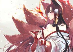 akagi (azur lane) animal ears azur lane japanese clothes kitsune no bra open shirt seiniku tail #89820