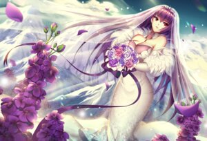 Rating: Safe Score: 56 Tags: cleavage dress fate/grand_order mallizmora scathach_(fate/grand_order) wedding_dress User: Mr_GT